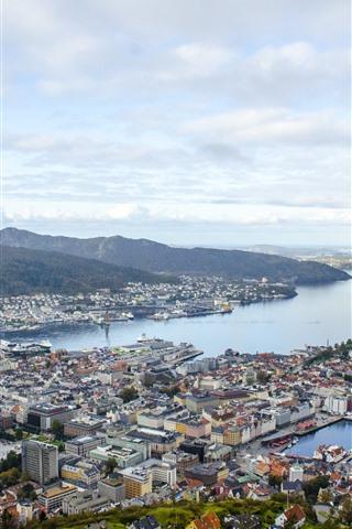 iPhone Wallpaper Norway, city, top view, sea