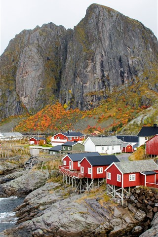 iPhone Wallpaper Norway, houses, village, sea, coast, mountains