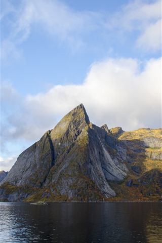 iPhone Wallpaper Norway, mountains, sea, nature landscape