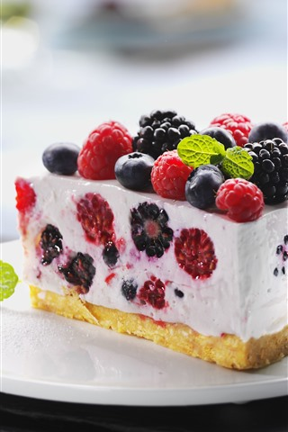 iPhone Wallpaper One piece of cake, raspberry, blackberry, blueberry, fork