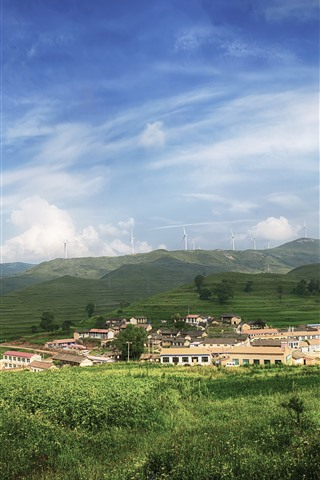 iPhone Wallpaper Qinyuan, mountains, windmill, village, countryside, China