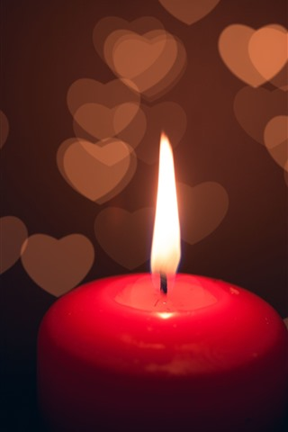 iPhone Wallpaper Red candle, flame, love hearts