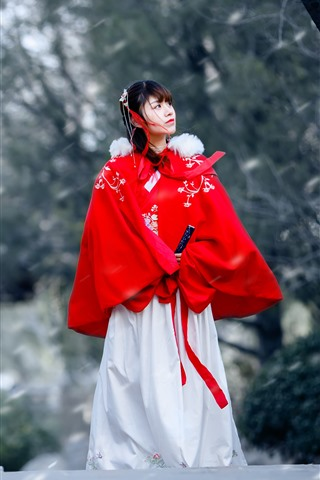 iPhone Wallpaper Retro style Chinese girl, hanfu, bridge