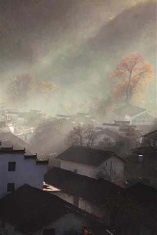 Shicheng Village Houses Sun Rays Hazy Morning China