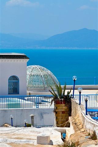 iPhone Wallpaper Tunisia, Africa, blue sea, mountains