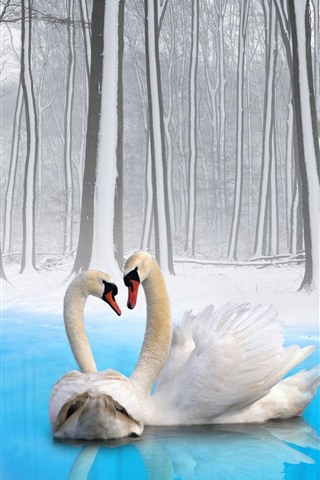 iPhone Wallpaper Two swans, couple, winter, snow, trees, pond