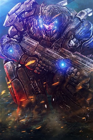 iPhone Wallpaper Warrior, weapon, armor, fire, art picture