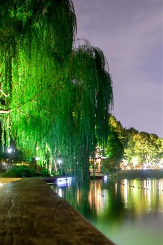 iPhone Wallpaper West Lake beautiful night scenery, lights, willow