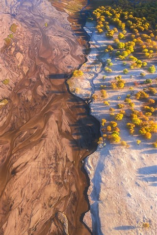 iPhone Wallpaper Wulan Butong Grassland, autumn, river, trees, top view