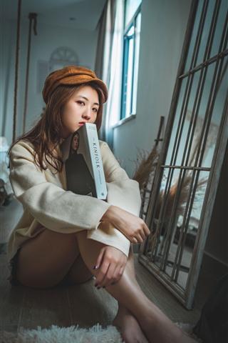 iPhone Wallpaper Asian girl, sit on floor, book, look