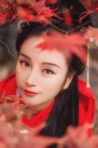 iPhone Wallpaper Beautiful girl look at you, retro style, red maple leaves