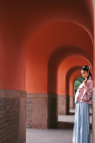 iPhone Wallpaper Beautiful young girl, retro style, arch, corridor