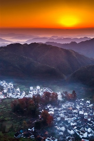 iPhone Wallpaper China, countryside, village, top view, mountains, sunset