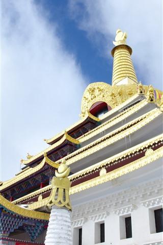 iPhone Wallpaper Dongga Temple, sky, Tibet