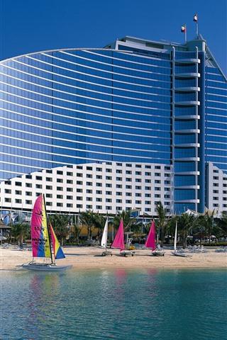 iPhone Обои Дубай, пляж, отель, парусник, море