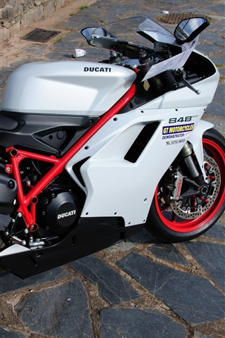 iPhone Wallpaper Ducati 848 motorcycle, rocks