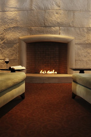 iPhone Wallpaper Fireplace, sofa, living room