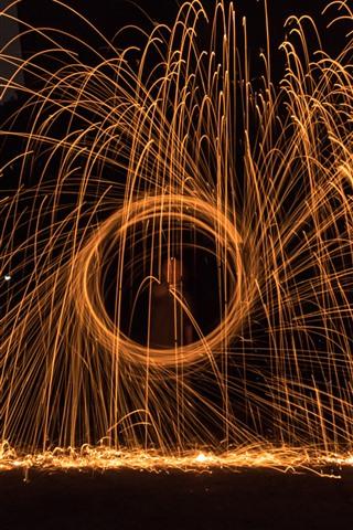 iPhone Papéis de Parede Fogos de artifício, faíscas, círculo, noite