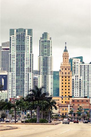 iPhone Wallpaper Florida, Miami, city, skyscrapers, USA