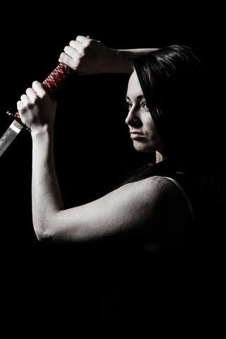 iPhone Wallpaper Girl use katana, darkness
