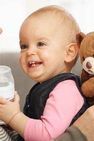 iPhone Papéis de Parede Mãe e bebê, feliz, ursinho de pelúcia