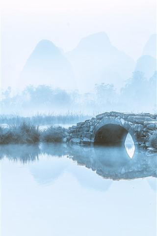 iPhone Wallpaper Mountains, river, bridge, birds, fog, morning