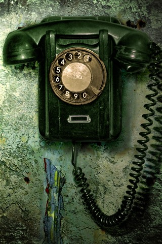 iPhone Wallpaper Old telephone, wall