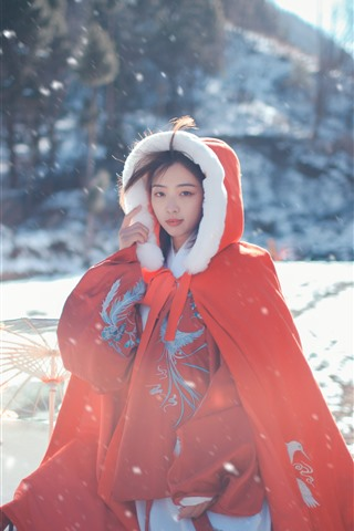 iPhone Wallpaper Red coat, girl, snow, winter