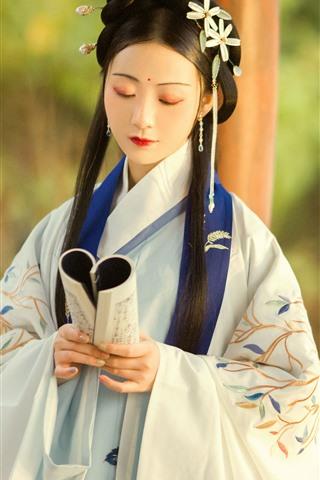 iPhone Wallpaper Retro style girl, long hair, book, hanfu