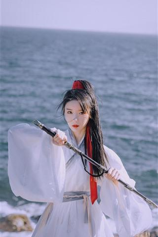 iPhone Wallpaper Retro style girl, warrior, sword