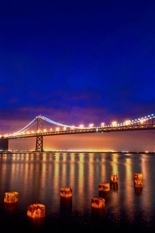 iPhone Wallpaper San Francisco, night, bridge, river, lights, USA