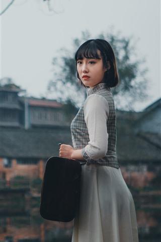 iPhone Wallpaper Short hair girl, retro style, suitcase