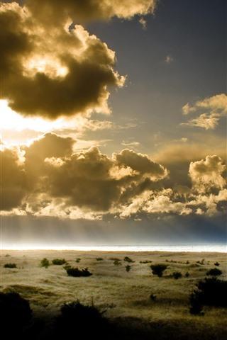iPhone Wallpaper Summer, sky, clouds, sun rays