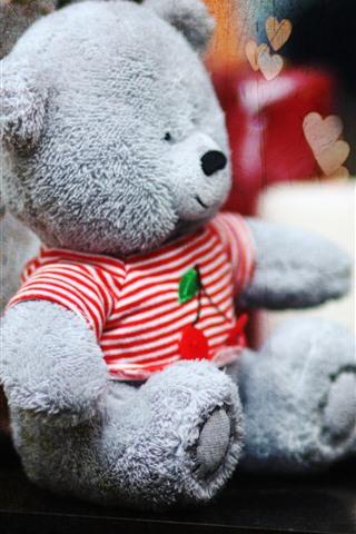 iPhone Wallpaper Teddy bear, love hearts, hazy