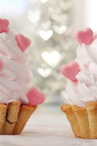 iPhone Wallpaper Two ice creams, love hearts
