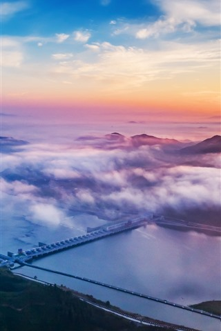 iPhone Wallpaper Xiajiang Hydro-junction, river, clouds, sunset, China