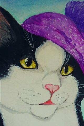 iPhone Hintergrundbilder Kunstzeichnung, Katze, rosa Hut