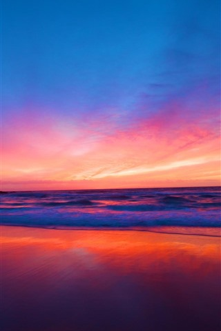 iPhone Wallpaper Beautiful sunset, sea, red sky, clouds, beach
