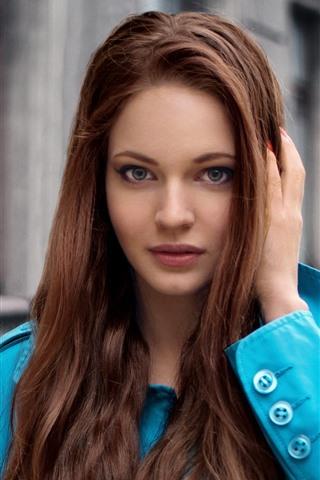iPhone Wallpaper Brown hair girl, blue coat