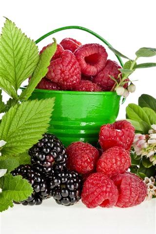 iPhone Wallpaper Bucket, raspberry, blackberry, flowers, green leaves