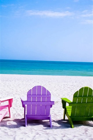 iPhone Wallpaper Colorful chairs, beach, sea