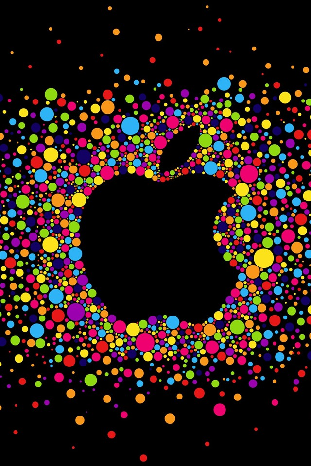 Colorful Circles Apple Logo Black Background 828x1792 Iphone 11 Xr Wallpaper Background Picture Image