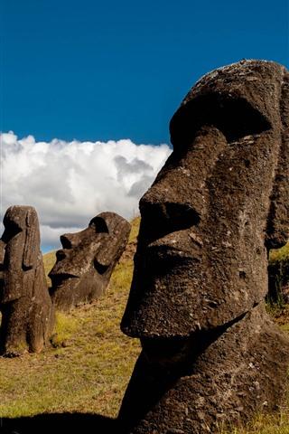 iPhone Wallpaper Easter Island, Moai Statue, Chile