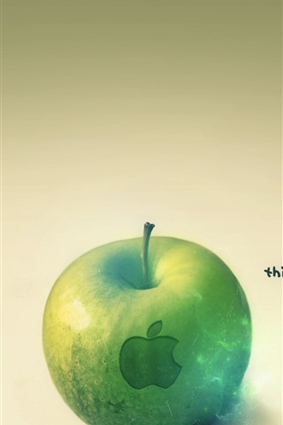 iPhone Papéis de Parede Maçã verde, logotipo da Apple, pense diferente