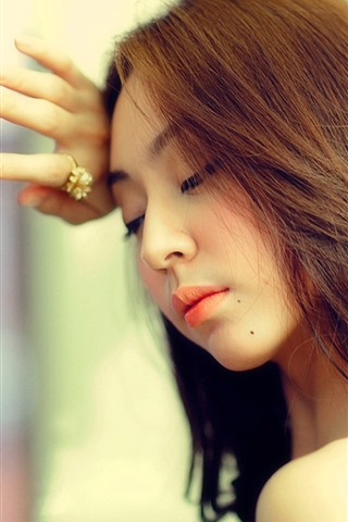 iPhone Wallpaper Long hair Asian girl, glass, sadness