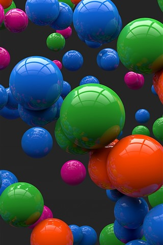 iPhone Papéis de Parede Muitas bolas 3D coloridas