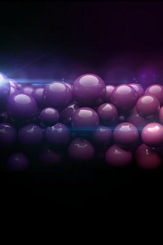 iPhone Papéis de Parede Muitas bolas roxas 3D, fundo preto brilhante