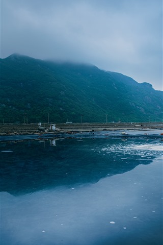 iPhone Wallpaper Morning, sea, mountains, woman, salt, Xiangshan, Hualiu Island, China