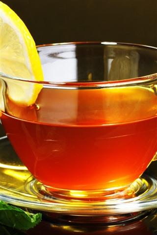 iPhone Wallpaper One cup tea, lemon slice, mint