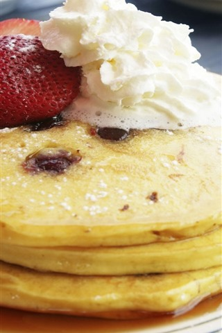 iPhone Wallpaper Pancakes, strawberry, cream, dessert